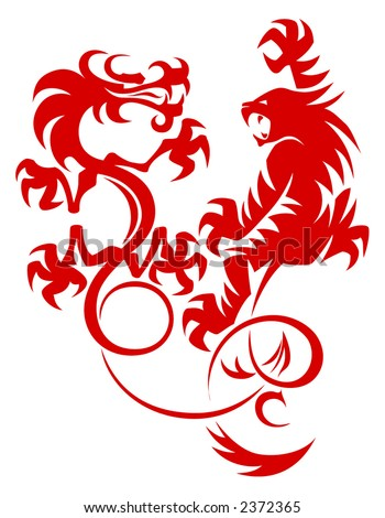 stock vector : Dragon vs Tiger. Vector tattoo image