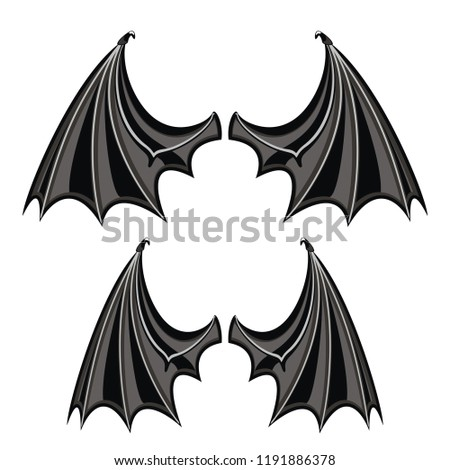 Dragon wings isolated on white background. Element of mystic creature. Body part of vampire, bat. Halloween attribute. Vector illustration.