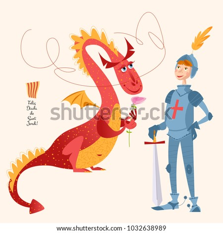 dragon with a rose and knight
