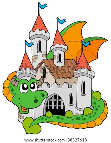 Dragon with old castle - vector illustration.