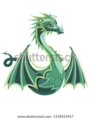 Stock Photo Dragon with wings, flying green miphological animal, chinese creatures, cartoon character, art for emblems and tattoo, isolated on white background, vector illustration