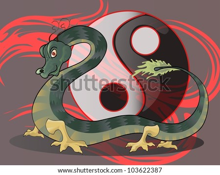 dragon with yin yang icon background and abstract red background - stock vector