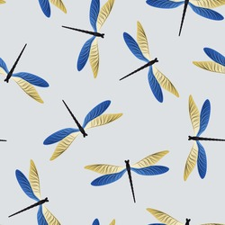 Dragonfly cartoon seamless pattern. Summer clothes textile print with flying adder insects. Graphic water dragonfly vector ornament. Nature beings seamless. Damselfly butterflies.