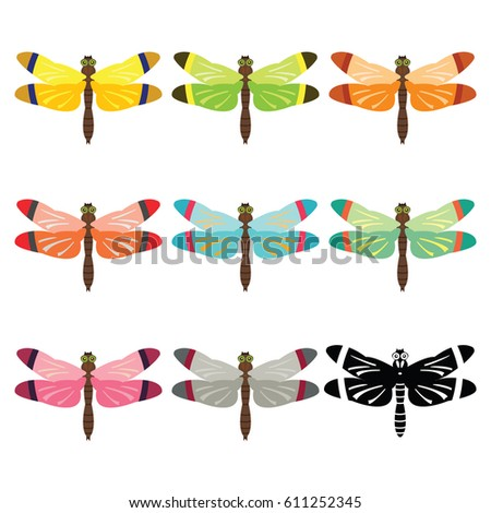 dragonfly different color set