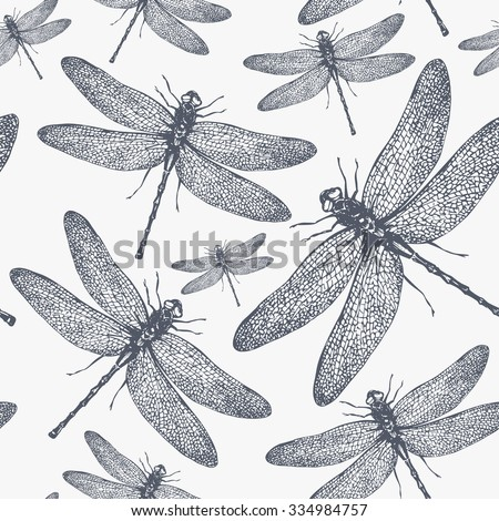 dragonfly seamless pattern