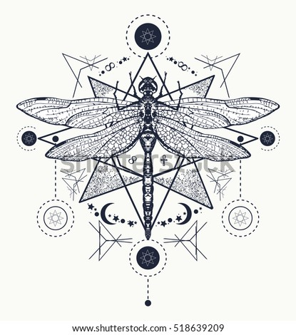 Dragonfly tattoo. Hand drawn mystical symbols and insects. Dragonfly tattoo sketch. Alchemy, religion, occultism, spirituality, coloring books