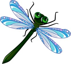 dragonfly with a green body, with big eyes and blue wings on a white background