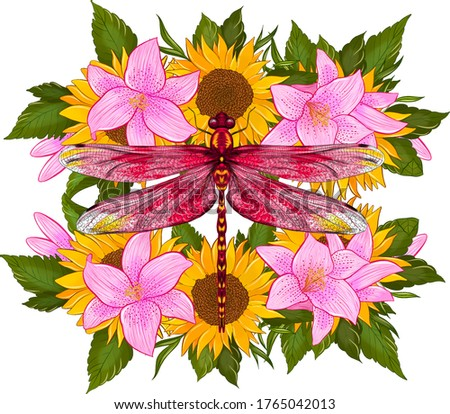 dragonfly with flowers lilies