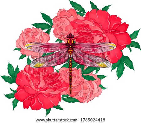 dragonfly with flowers peonies
