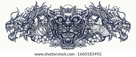 Dragons and tiger head. Traditional asian concept. Ancient China and Japan. Mythology and culture. Yakuza tattoo style ストックフォト ©