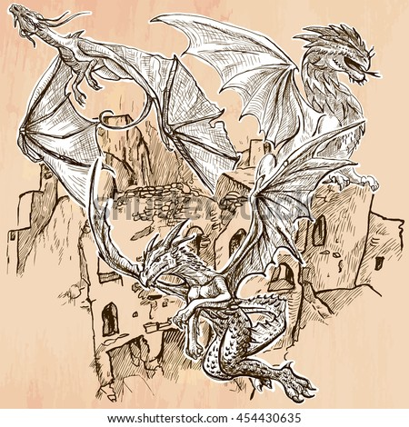 dragons flying upon the old