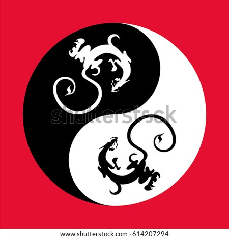 dragons in the shape of the yin