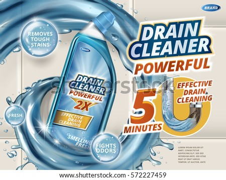 Drain cleaner ads, dynamic liquid with detergent bottle isolated on bathroom wall in 3d illustration