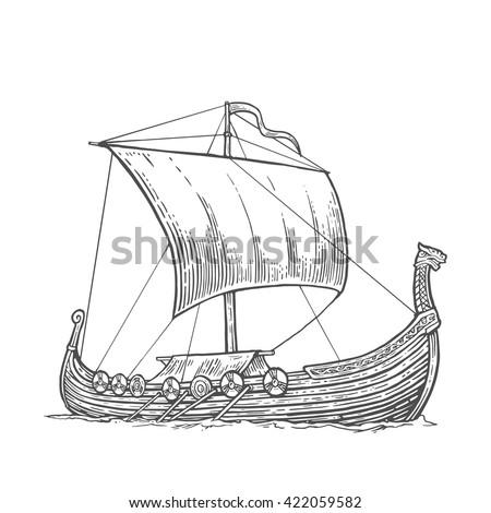 drakkar floating on the sea