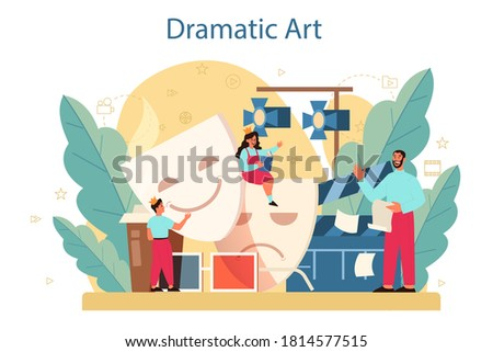 Drama club concept. Children creative subject, school play. Kid studying acting performance on stage and drama art. Vector illustration in cartoon style Foto stock ©