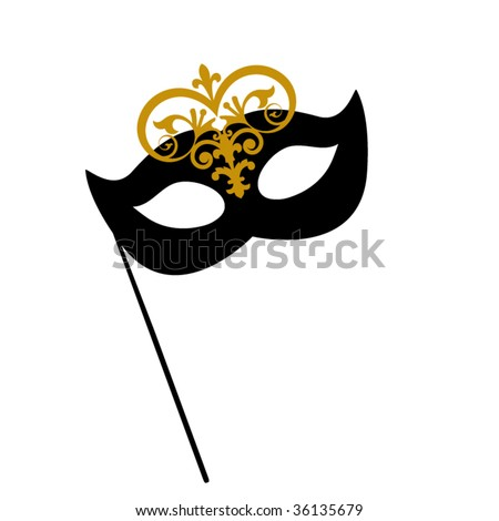 drama mask with stick