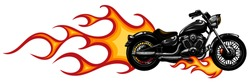 Dramatic burning motorcycle engulfed in fierce fiery orange flames and fire exploding sparks