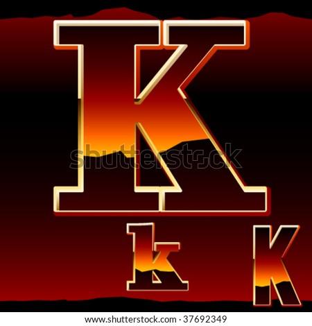 Dramatic dark sunset styled alphabet symbol. Letter k