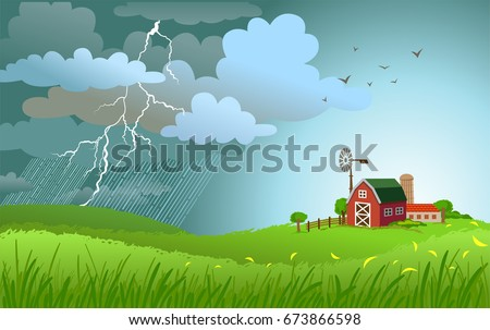 Dramatic landscape with approaching a storm and a rain with lightnings on a small farm.