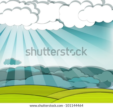 Dramatic scene with sunrays finding their way through the clouds, eps10 vector