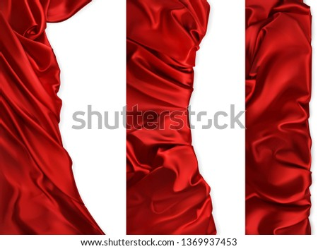 Drapery fabrics. Red cloths vectorized image. Vertical banners, 3d realistic vector set