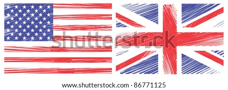 Draw Flag of the United States and united kingdom on a whiteboard. Vector template