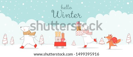 Draw illustration banner cute cat with presents in Santa sleigh for Christmas day and New year.Winter concept.Doodle cartoon style.