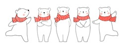 Draw illustration character design cute polar bear with red scarf for Christmas day and New year.Doodle cartoon style.