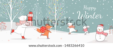 Draw  illustration polar bear holding gifts and fox with bag gift in snow  for Christmas day and New year.Winter concept.Doodle cartoon style.