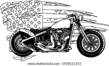 draw in black and white of chopper motorcycle with american flag vector illustration Stock photo ©
