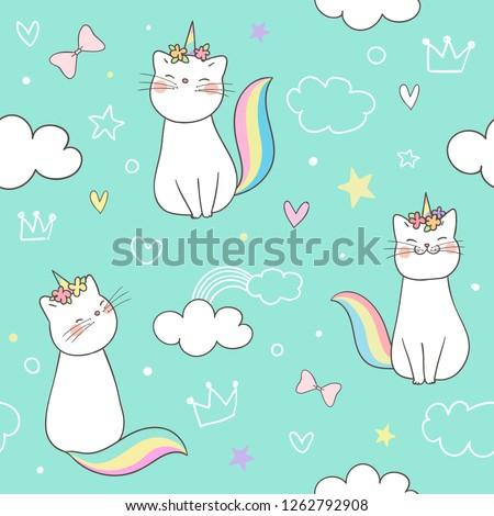 Draw seamless pattern background kitty cat unicorn on sweet pastel.Doodle cartoon style.