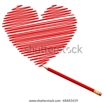 draw sketch heart by red pencil to saint valentines day