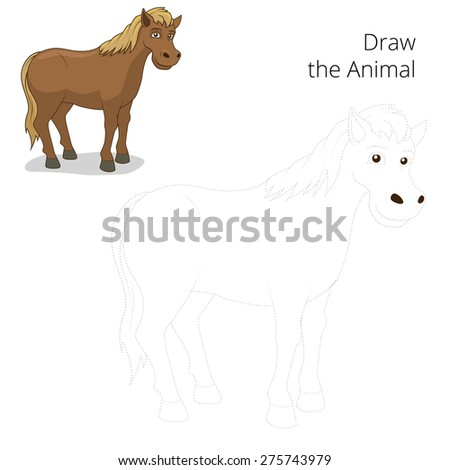 Draw the animal horse educational game vector illustration