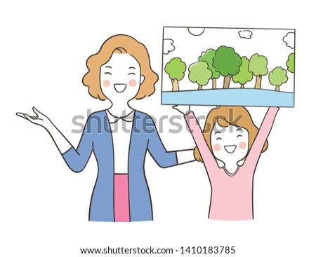 Doodle girl character study - Download Free Vector Art, Stock