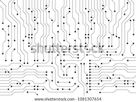Draw Vector background of Ai artificial intelligence PCB smart board processes. Advance Self learning technology system on printed board microchip set to process code, information and data