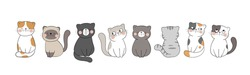 Draw vector banner cute cat on white for,greeting card,poster,cover,print,banner web.Doodle cartoon style.