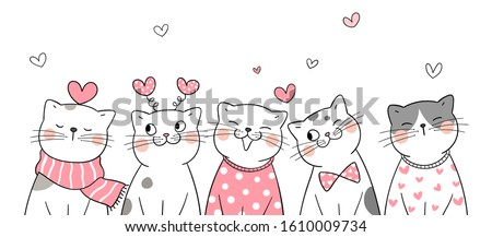 Draw vector banner design adorable cat with little hearts on white for Valentine