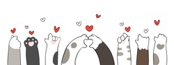 Draw vector character design banner cat paw with little heart for Valentine's day.Doodle cartoon style.