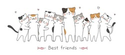 Draw vector illustration banner cute cat hug with love and word best friends.Isolated on white.Doodle cartoon style.