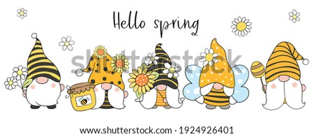 Draw vector illustration banner design bee gnomes with flower for spring and summer Cartoon style