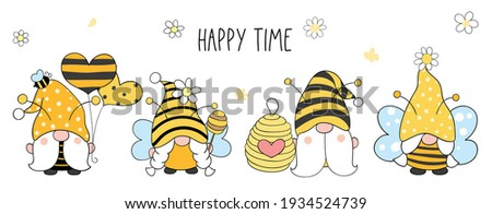 Draw vector illustration banner design bumble bee gnomes for spring and summer Cartoon style Stock fotó ©