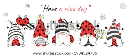 Draw vector illustration banner design ladybug gnomes for spring and summer Cartoon style Stock fotó ©