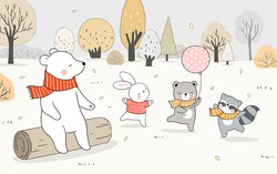Draw vector illustration banner happy animal bear rabbit raccoon playing forest in fall Autumn landscape.Doodle cartoon style.