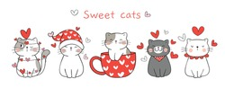 Draw vector illustration banner sweet cat in love For Valentine day.Doodle cartoon style.
