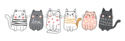 Draw vector illustration character collection cute cat.Doodle cartoon style.