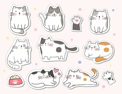 Draw vector illustration character design collection stickers cute cat.For printable doodle cartoon style.