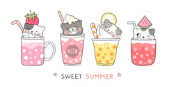 Draw vector illustration character design cute cat in smoothie and juice for summer holiday and party on the beach.Doodle cartoon style.