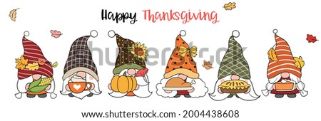Draw vector illustration character design gnome with happy thanksgiving in autumn Doodle cartoon style