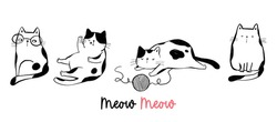 Draw vector illustration character funny cat.Doodle cartoon style.