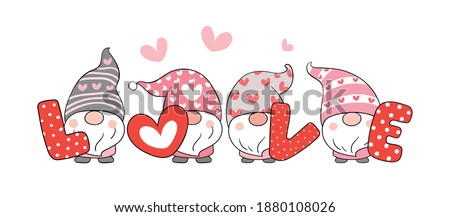 Draw vector illustration character sweet gnomes with word love for valentine day.Cartoon style.